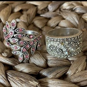 Set Of 2 Silver Rings size 7